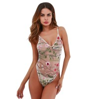 ZEMALIA Sexy Women Lingerie Embroidery Floral V-Neck Teddy One Piece Mesh See-Through