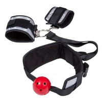 ZEMALIA Macy Breatheable Ball Gag with Handcuffs Restraint Kit